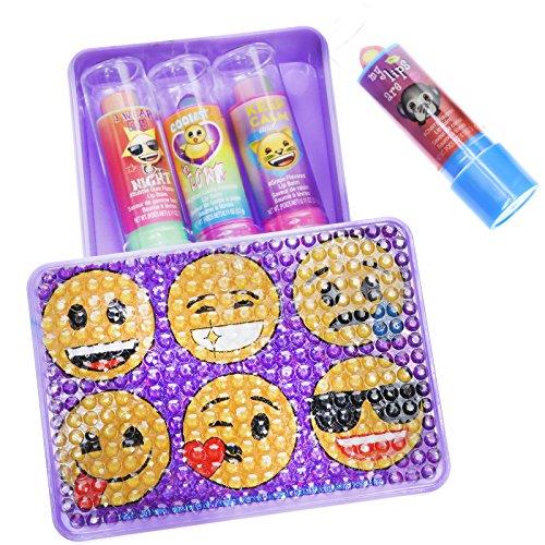 Townley Girl Emoji Super Sparkly Lip Balm for Girls, Four Fr