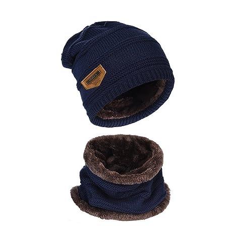 himki Berretto a maglia da uomo Cappello caldo con fodera in peluche Beanie  e sciarpa 4c5245fd3773