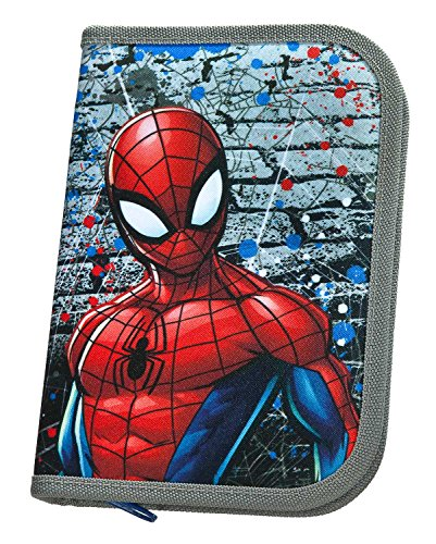 (Scooli SPLO0443Ja Stabilo Brand Filled School Pencil Case–Marvel Spiderman)