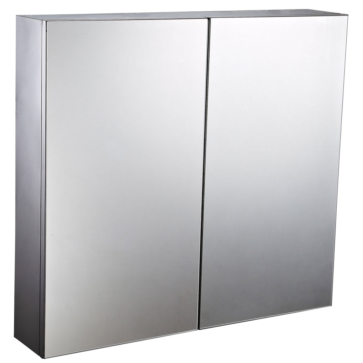 HomCom 22'' Stainless Steel Double Doored Wall Mounted Mirrored Medicine Cabinet
