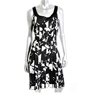9d4e053b3a DONNA RICCO NEW Black   White Print Chiffon Pintuck SHEATH DRESS ...