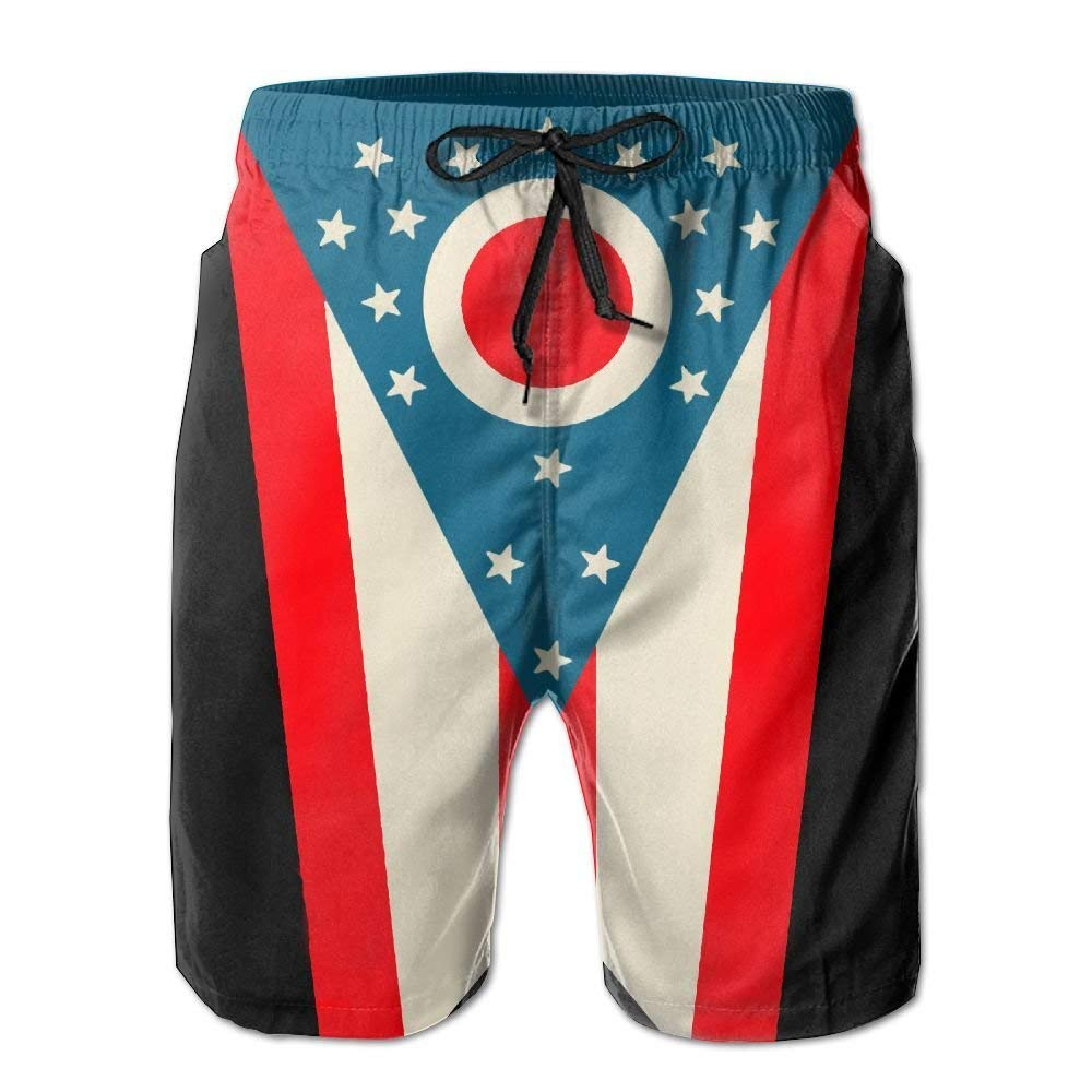 DDYJ Ohio State Flag Boardshorts Mens Swimtrunks Fashion Beach Shorts Casual Shorts Swim Trunks