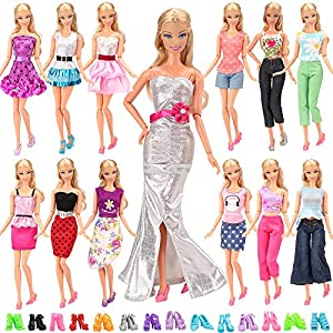61M8NGOK1VL. SS300  - BARWA Lot 20 Items 10 Set Fashion Handmade Clothes Outfit 10 Pairs Shoes for 11.5 Inch Girl Doll
