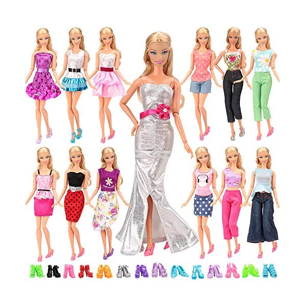 61M8NGOK1VL. SS600  - BARWA Lot 20 Items 10 Set Fashion Handmade Clothes Outfit 10 Pairs Shoes for 11.5 Inch Girl Doll
