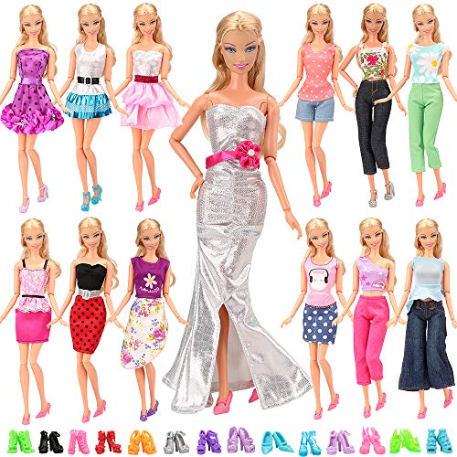 0 Set Fashion Handmade Clothes Outfit 10 Pairs Shoes for 11.5 Inch Girl Doll ()