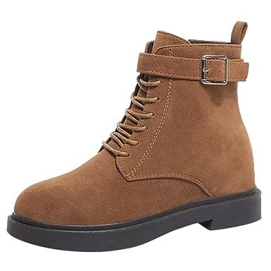 ❤ Botas de Mujer con Cordones, Moda Femenina Solid Med Thick Heel Zipper Boots Zapatos con Punta Redonda Absolute: Amazon.es: Ropa y accesorios