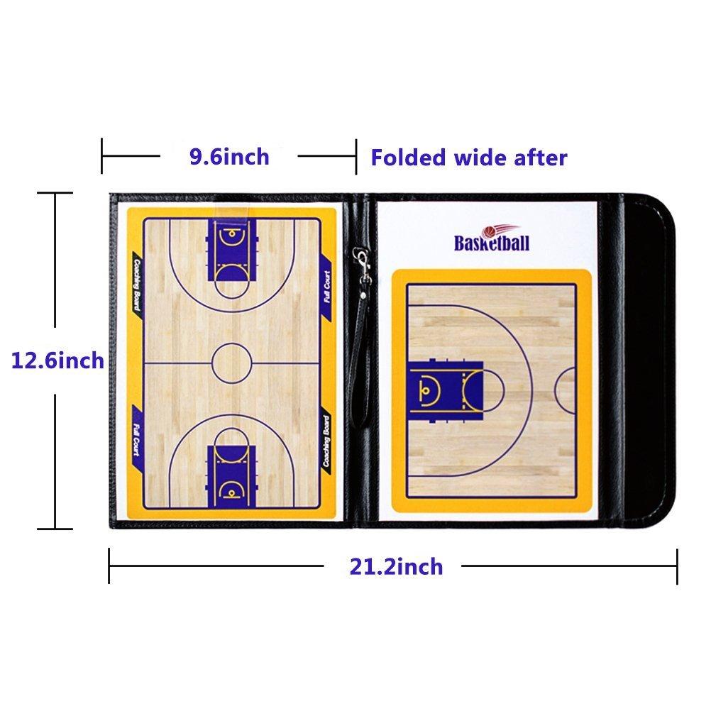 Pizarra magnética AUVSTAR para entrenador de baloncesto, tablero táctico del coche, tablero táctico magnético, plegable y con funda de piel
