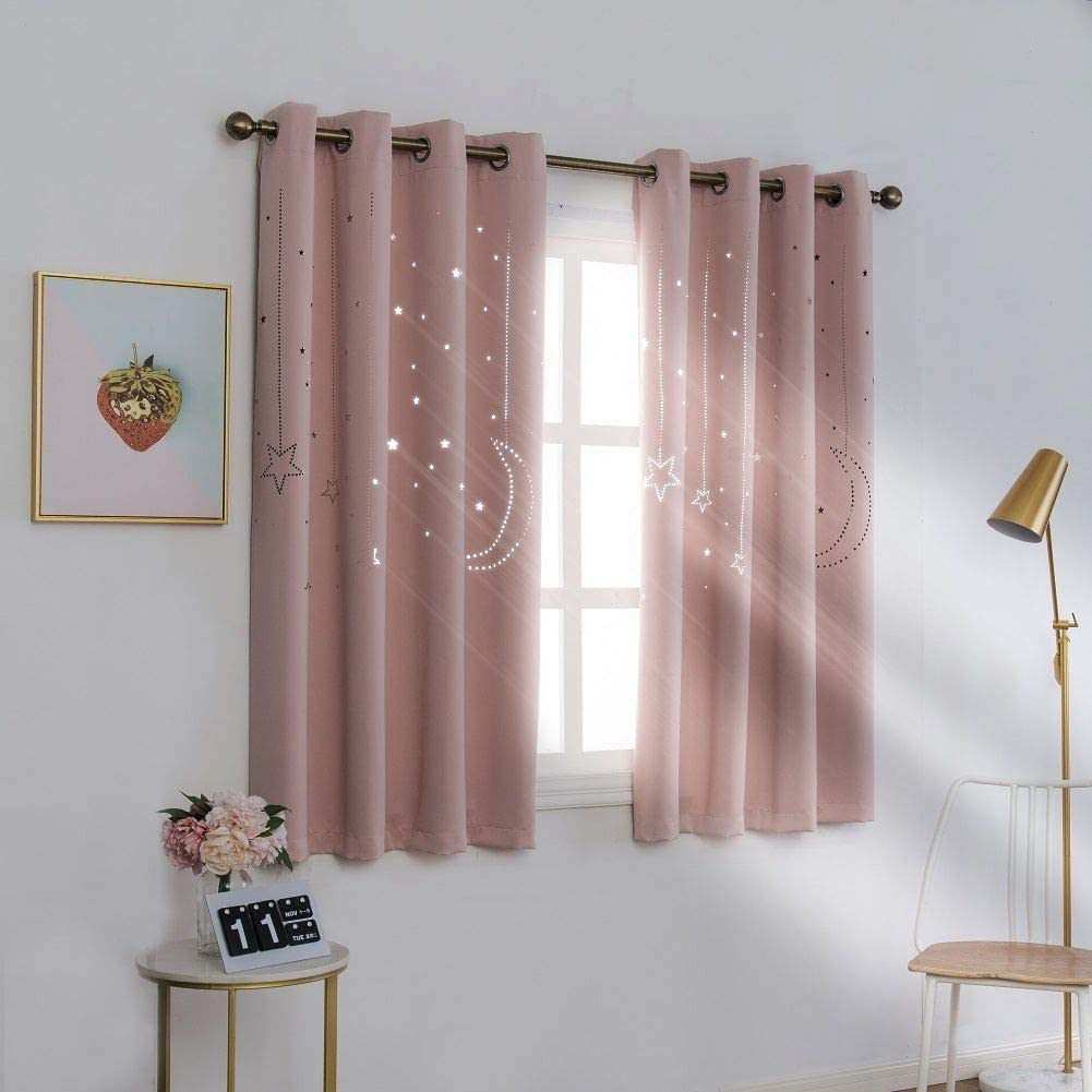 Double-layer Thermal Blackout Curtains Starry Window Curtain Drapes Tulle Panel