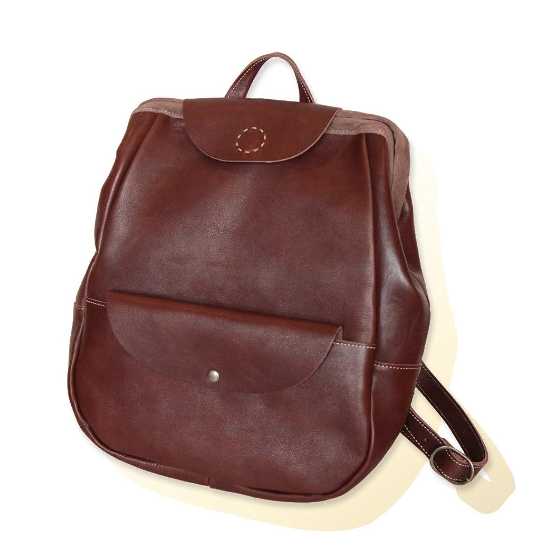 【Kanmi./カンミ】ボスコ革製リュックサック(ダレス型リュックレザーバックパック婦人鞄/男性鞄兼用ユニセックスタイプ/女性へのクリスマスプレゼントに(B14-22) B00UFJLDK2ブラウン(02)