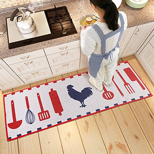 Gate Spoon - The suction door mat bedroom bed kitchen mats home the entered the gate of carpet Bathroom Slip-proof Mat ,45120cm, spoon