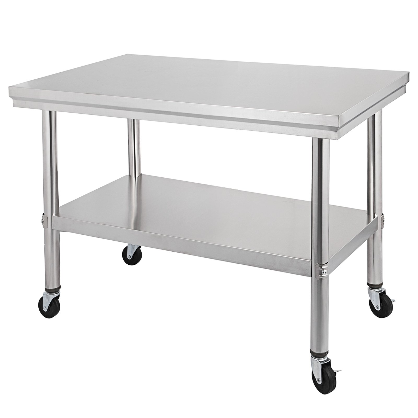 Happybuy NSF stainless Steel work table with wheels 36x24 Prep table with casters Heavy duty work table for commercial kitchen Restaurant Business Garage sliver (36''x24'')