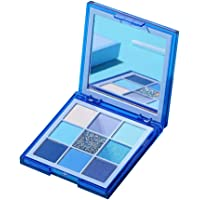 F Fityle 9 Colors Blendable Pressed Pro Eyeshadow Palette Pallete Makeup Highly Pigmented Gifts - Blue