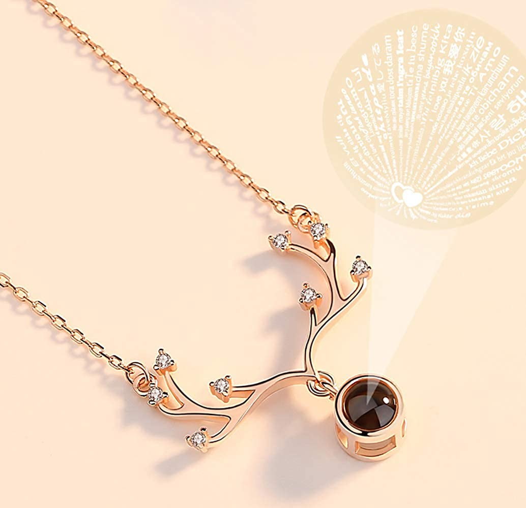 Cocobanana Womens Necklace Cubic Zirconia Station Elk Shaped Necklaces for Girls