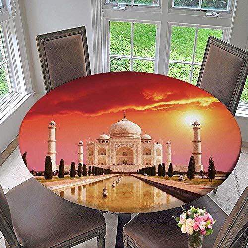 Mikihome Elasticized Table Cover Taj Mahal Palace in India on Sunrise Machine Washable 55