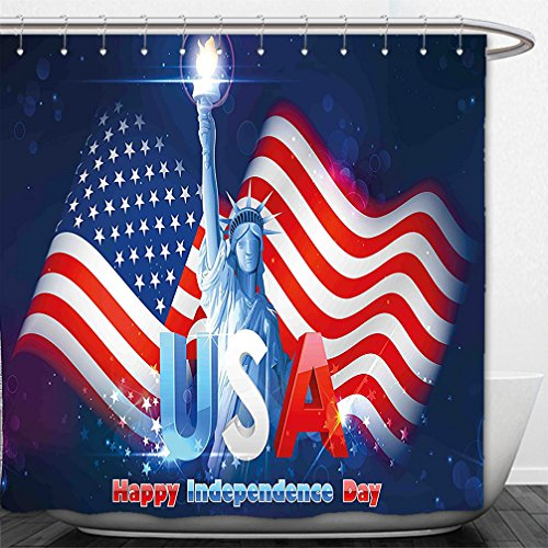 Interestlee Shower Curtain 4th of July Decor Hipster Dog with Sun Glasses and US Flag Comic Absurd Joke Illustration Blue - Sunglasses Fallout 4