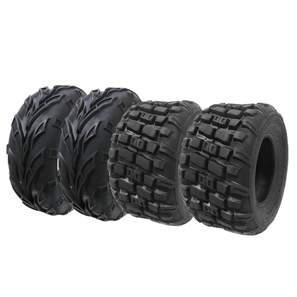 Set of 4 ATV UTV Tires: (2) Front 21x7-10 and (2) Rear 20x10-9 ATV UTV Go Kart