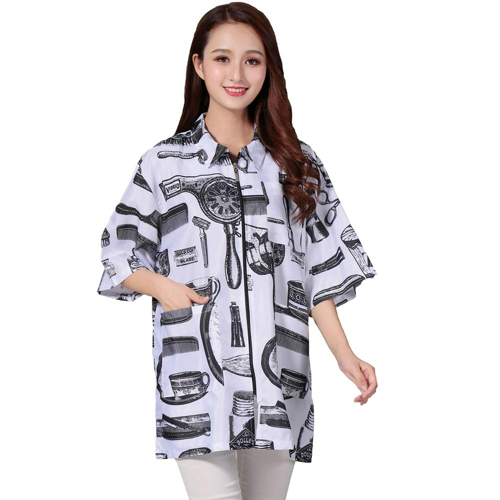 KAHOT Salon Client Gown Robe Smock Kimono Hair Tools Pattern with Collar Hairdressing Cape Beauty Barber Guest Clothes Barber Jackets Apron Wrap (L, White)