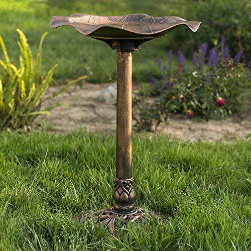Best Choice Products Outdoor Garden Lily Leaf Pedestal Bird Bath Decor w/Floral Accents - Copper
