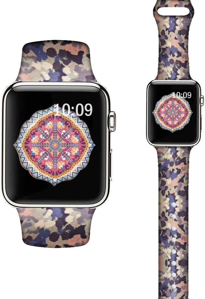 LAACO Silicone Sport Bands Compatible with Apple Watch 40mm for Women, Floral Sport Band, Blue Abstract Fadeless Pattern Printed Replacement Strap Bands Compatible with iWatch 38mm Series 5 4 3 2 1