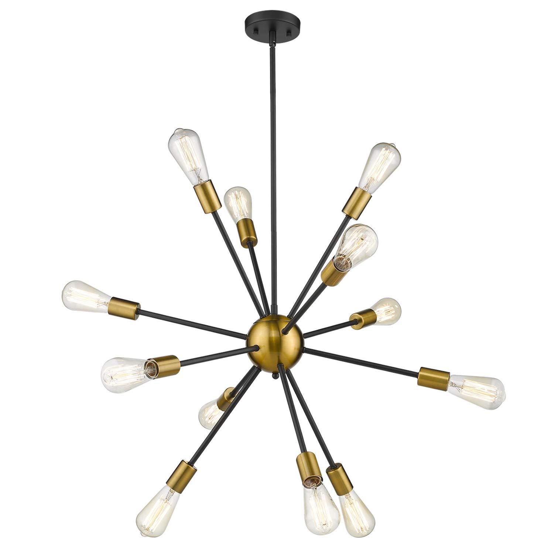 Jazava 12-Light Sputnik Style Chandelier Spider Pendant Light Elegant Modern Industrial Starburst-Style Ceiling Light Fixture,Black and Brass Brushed, JAPLB0012BG