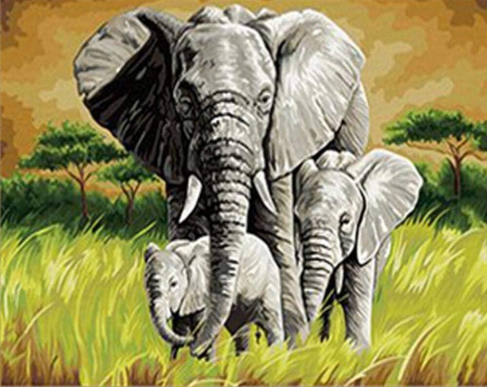 Kit de pintura por números, pintura al óleo para bricolaje regalo para adultos y niños, decoración para el hogar Decoración navideña - Elefante y elefante bebé - 40 x 50 cm, sin Marco