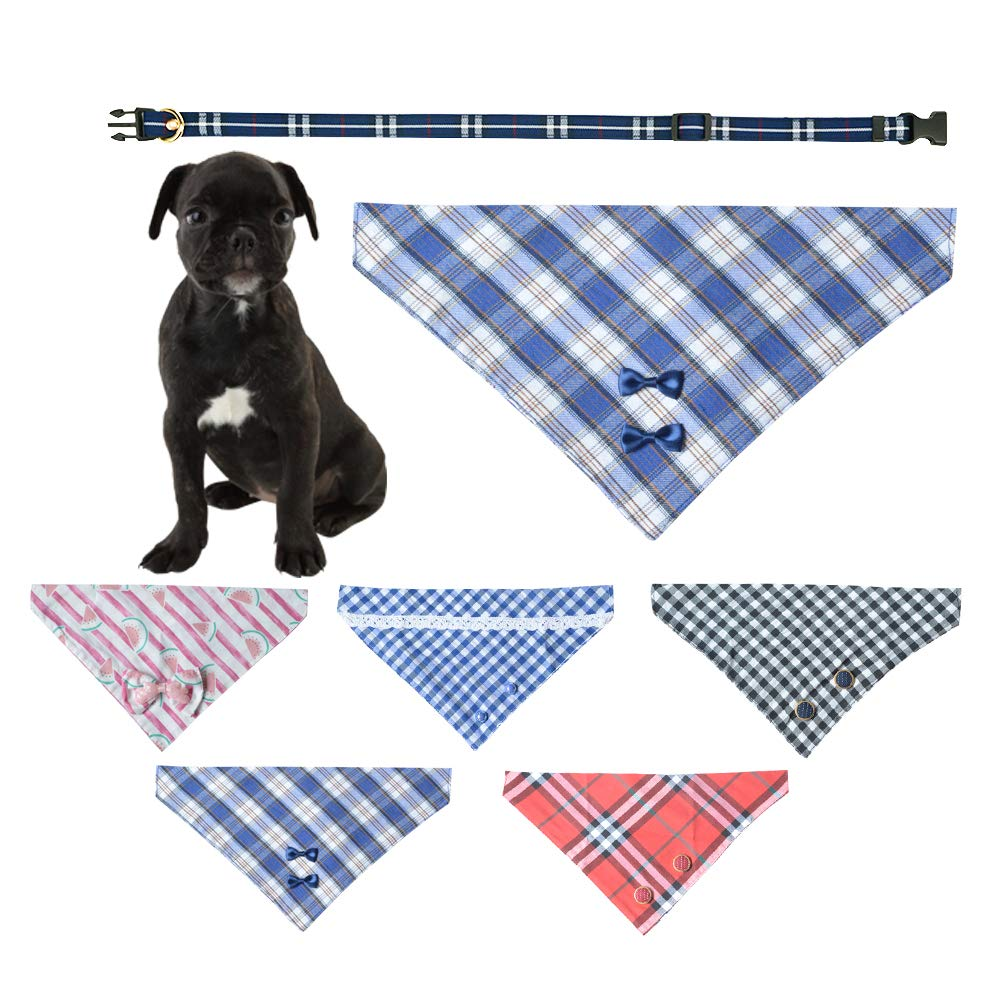 Ihoming Pet Bandana Classic Scarf Neckerchief with Durable and Soft PU Collar for Dogs Cats and Small Animals, Plaid, Blue, Medium