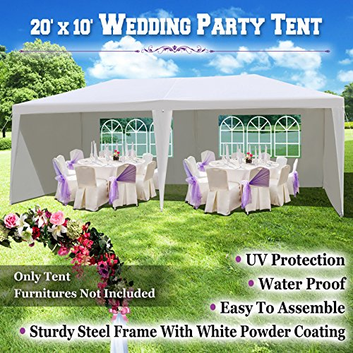BenefitUSA 10'X20' Wedding Party Tent Gazebo Pavilion Canopy Buffet Cater Event W/6 Sidewalls