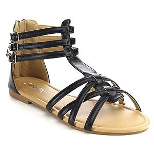 ANNA MAVIS-7 Women Buckle Zip Ankle Cuff Flat Gladiator Sandal Run Half Size Big, Color:BLACK, Size:10