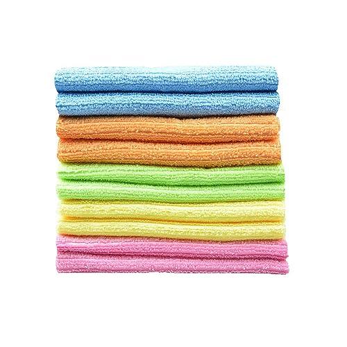 Sinland ménages multi-usage chiffons de nettoyant vaisselle en microfibre avec des Strips multicolore lot de 10