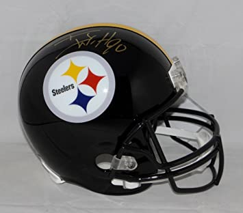 86696e28d Image Unavailable. Image not available for. Color  TJ Watt Autographed Gold Pittsburgh  Steelers Full Size Helmet- JSA W Watt Holo