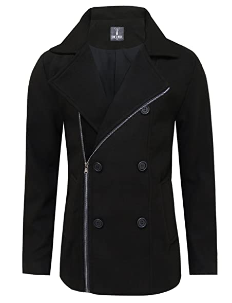 Tom's Ware Mens Stylish Zip Up Wool Double Breasted Pea Coat at ...