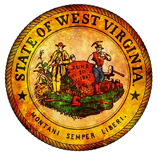 Oval vintage seal west virginia 4x4 inches sticker decal die cut vinyl - Made and Shipped in USA