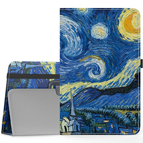 MoKo Samsung Galaxy Tab E 9.6 Case - Slim Folding Cover for Samsung Galaxy Tab E Wi-Fi/Tab E Nook 9.6-Inch Tablet Verizon 4G LTE Version, Starry Night (NOT FIT Tab E 8.0 inch Tablet)
