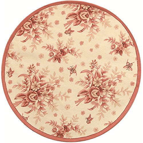 Safavieh Chelsea Collection HK250C Hand-Hooked Ivory and Rose Premium Wool Round Area Rug (4' Diameter)
