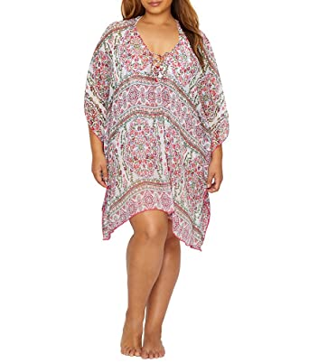 e16f25f962 BECCA ETC Women s Plus Size Granad Chiffon Tunic Cover Up