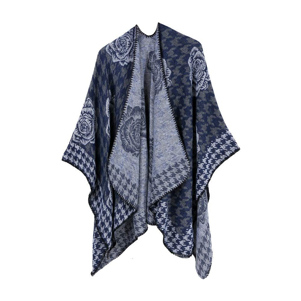 Excellent Women's Fall Winter Scarf Cloak Tassel Cape Mantle Scarf Ardent Piano Kerchief Wrap Shawl Scarves (Color : Blue, Size : 51.1 x 59.06 Inch') by Excellent