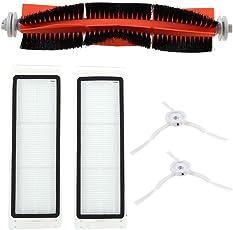 Qjoy - cepillo para polvo principal + 2 filtros HEPA+ 2 cepillos laterales para aspiradora Xiaomi Mi Robot