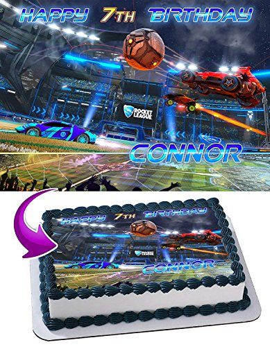 Rocket League Soccer Cars Edible Cake Topper Personalized Birthday 1/2 Size Sheet Decoration Party Birthday Sugar Frosting Transfer Fondant Image by EdibleInkArt