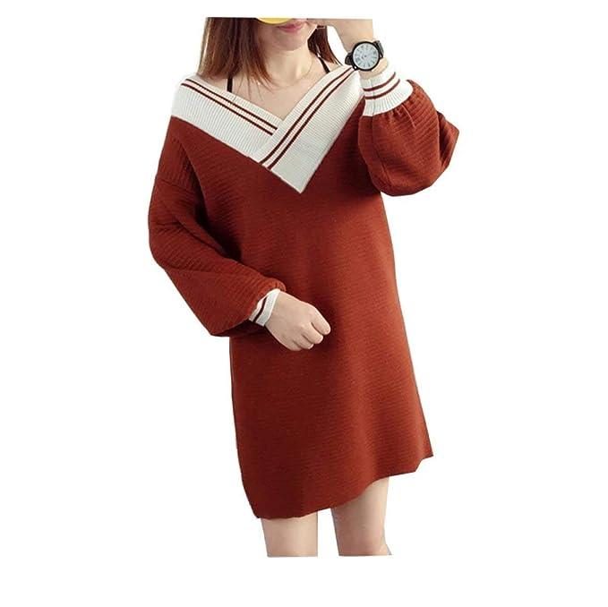 Mujer Vestidos Pullover Manga Larga V Cuello Suéter De Punto Anchas Casuales Invierno Vestido Ropa Termica Espesor Pullover Punto Sweater Otoño (Color : A, ...