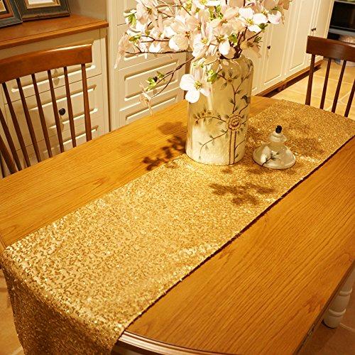Kesote Camino de Mesa Dorado Mantel Decorativo Table Runner para Fiestas de Cumpleanos, Bodas, Bautismo, 275 X 30 CM