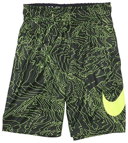 Nike Big Boys' (8-20) Dri-Fit Fly Training Shorts-Black/Volt-Large