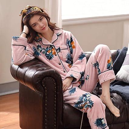 WANG-LONG Ropa De Dormir Batas Mujer Conjunto De Pijamas Camisones Ropa De Noche Invierno