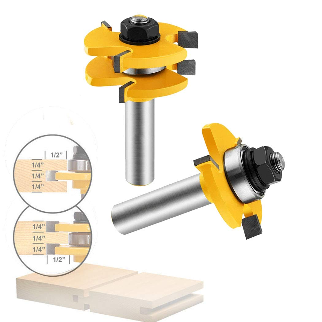 Tongue and Groove Set,Router Bit Set 1/2 Inch Shank T Shape Adjustable 3 Teeth Wood Milling Cutter Woodworking Tool For Door Table Cabinet Shelve Wall DIY Woodwork