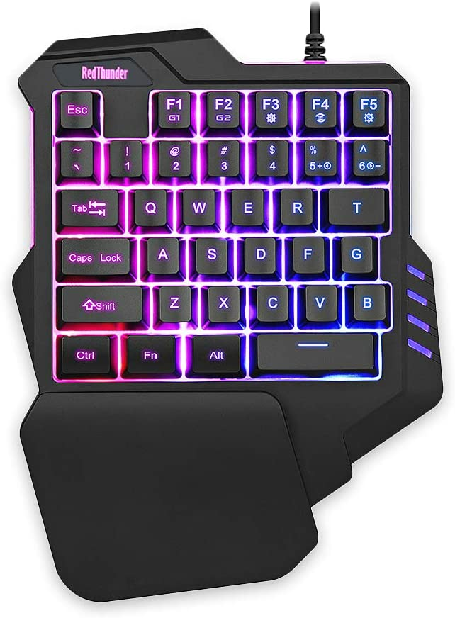RedThunder PC PS4 One-Handed Portable Mini Gaming RGB Backlit Controller Keyboard