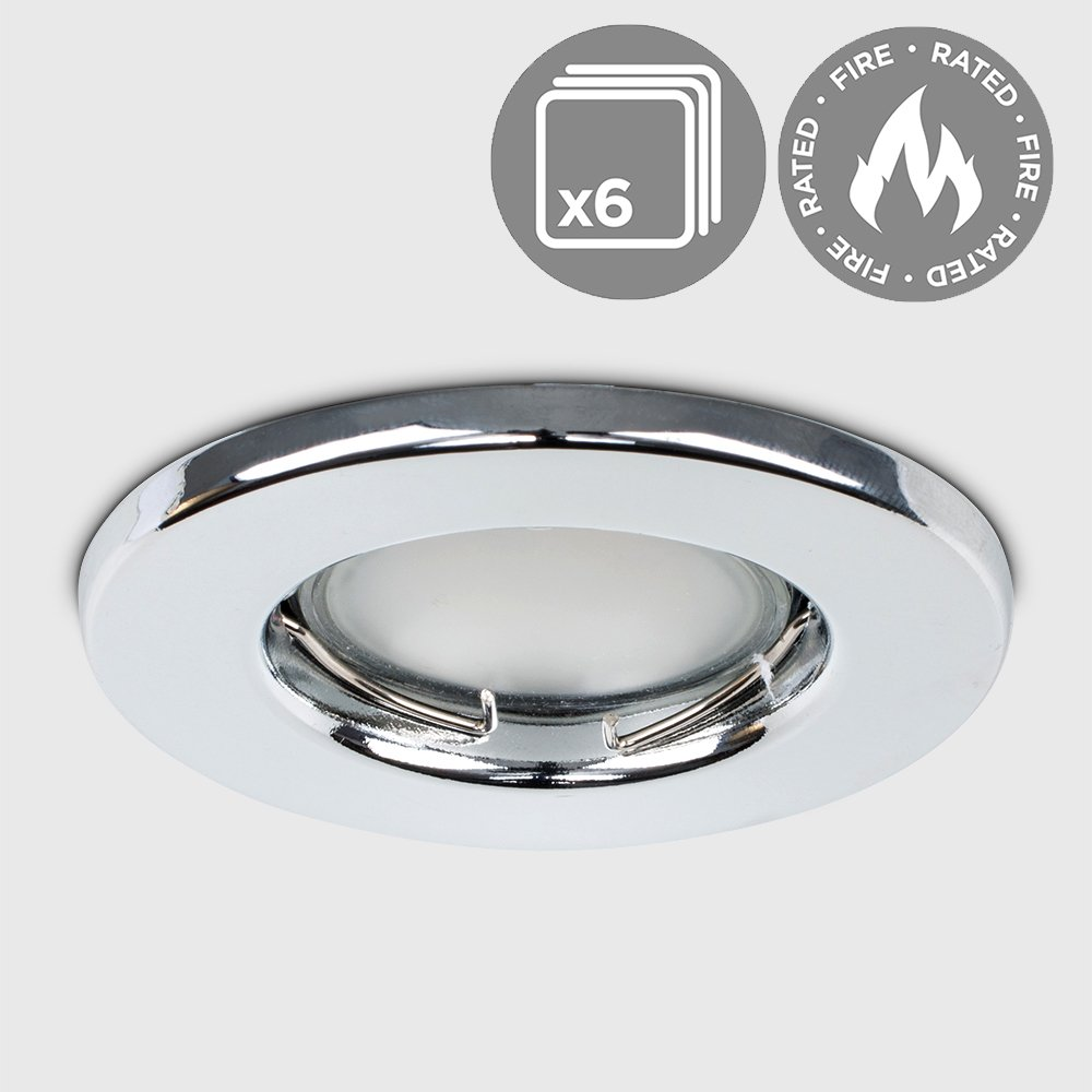 Pack Of 6 - MiniSun Fire Rated Small Polished Chrome GU10 Modern Round Recessed Ceiling Downlights