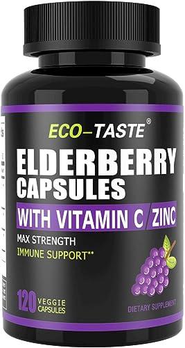 Elderberry Capsules with Zinc Vitamin C – 120 Capsules, Sambucus Elderberries for Immune Support, Skin Health – Veggie Caps