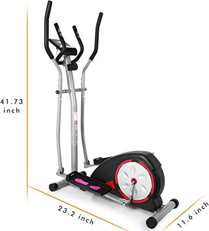Magnetic Control Mute Elliptical Trainer with LCD Monitor Elliptical Machine Trainer Fast 88 Portable Elliptical Machine Fitness Workout Cardio Training Machine
