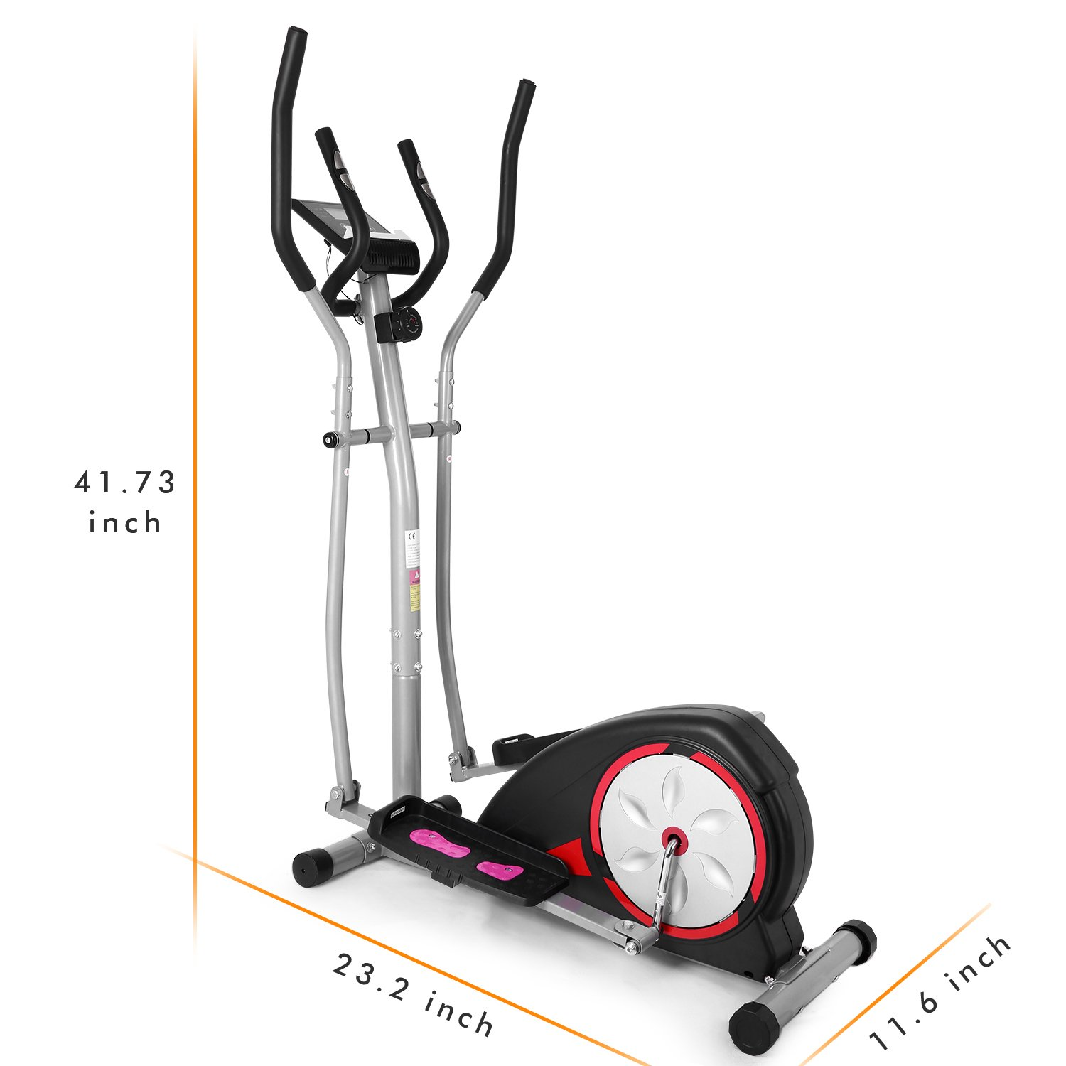 ANCHEER Elliptical Machine Trainer Magnetic Smooth Quiet Driven with LCD Monitor and Pulse Rate Grips (Silver) by ANCHEER (Image #6)