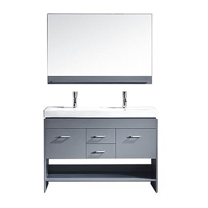 virtu usa gloria 48 inch double sink bathroom vanity set in grey w rh amazon com 48 Double Sink Countertop 48 inch double sink bathroom vanity home depot