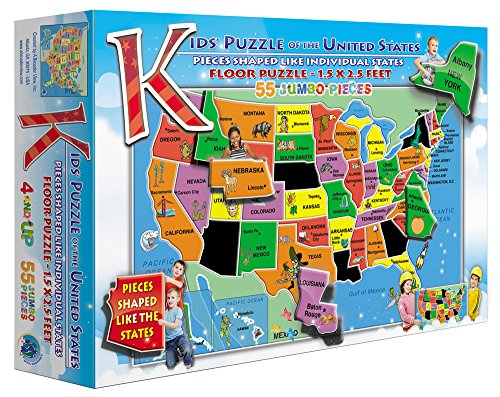 Kids Puzzle Of The Usa 55 Piece